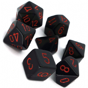 Black & Red Opaque Polyhedral 7 Dice Set